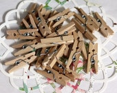 "100 Mini Clothespins, 1"" Tiny Clothespins, Gift Wrap, Party Supplies, Party Favors, Wedding Favors, Scrapbooking, Weddings, Shower Favors"