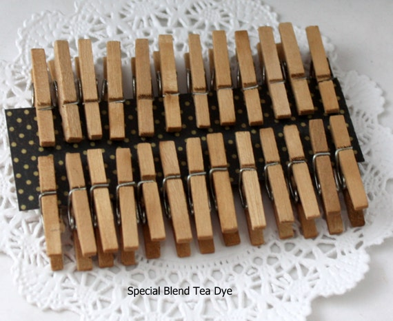 25 Tea Stained Mini Clothespins, Tiny Clothespins, Rustic Wedding, Party Favors, Crafts, Photo Clips, Bag Clips, Party Supplies, Gift Wrap