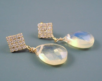 Pineapple Quartz Earrings with 16MM Teardrop Briolette and Rhinestone Pave Post ON SALE were 49.00
