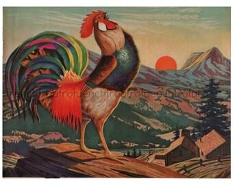 vintage rooster winter mountain sunrise illustration digital download