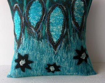 20 x 20 Decorative pillow- felted- hand embroidered- turquoises- browns.
