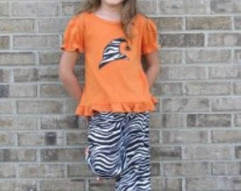 Halloween Applique Top and Ruffled Pant Set