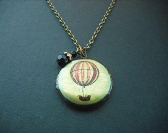 Locket Necklace, Antique Brass Locket necklace with Hot Air Balloon Altered Photo Locket, Version 2