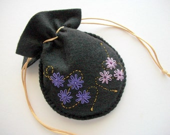 Drawstring Bag Felt Gift Bag or Compact Pouch with Hand Embroidered Flowers and Swirls Handsewn