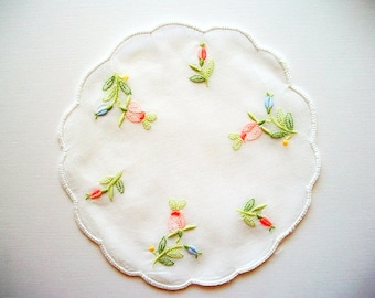 Rose Doily Hand Embroidered Cotton Batist Transparent Vintage Unused