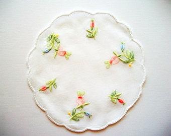 Rose Doily Hand Embroidered Cotton Batist Transparent Vintage Unused
