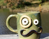 Mans Coffee Mug. Pine Tree Green. Handlebar Mustache and Monocle Eyepiece. Gifts for Him.