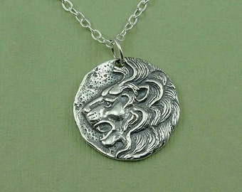 Lion Necklace - sterling silver Leo necklace, lion jewelry