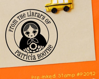 Russian Doll Stamp (Pre-inked) Personalized Library Stamp, Children Stamp, Gifts For Her, Handmade by, Custom Rubber Address Stamp (P2092)