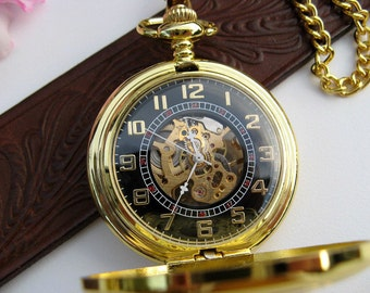 Pocket Watch - Gold and Black Mechanical Pocket Watch with Chain - Steampunk - Men - Groomsmen Gift - Watch - MPW111