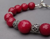 Bead Bracelet Cranberry Red Quartz with Ornate Bali Sterling Silver Beads with Sterling Silver Toggle Clasp