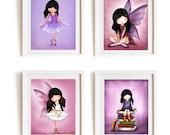 art prints, kids room, nursery decor, children wall art, pink, purple, art, decor, fairy, angel. ballerina