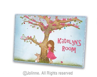 Kids room door sign, childrens art, personalized door hanger, door sign for girls bedroom, art for girls, nursery door sign,girl with bunny