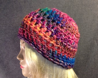 Sparkly Rainbow Crocheted Beanie Free Shipping