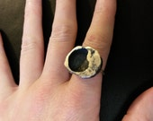 SAMPLE SALE One of a Kind Crater Ring in Sterling Silver Size 6 1/2
