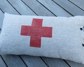 red cross linen block printed pillow cushion (red ink on oatmeal linen)
