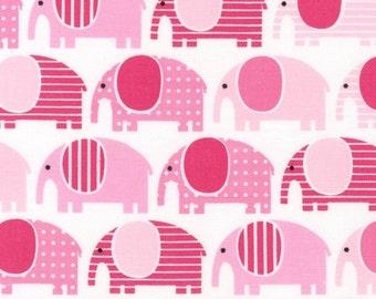 Urban Zoologie Fabric by Ann Kelle for Robert Kaufman Pink Striped Polka Dot Elephants Elephant on White