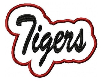 Tigers Script with a Shadow Embroidery Machine Applique Design 2846