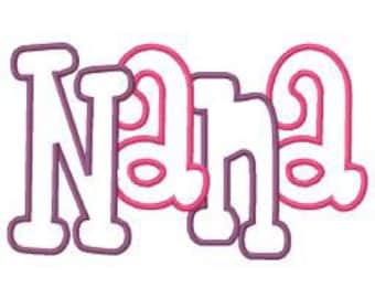Nana 2 Color Embroidery Machine Applique Design 4145 Instant Download