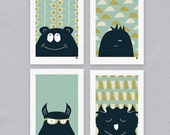 Monster illustrated prints - Limited edition set of four A5 prints