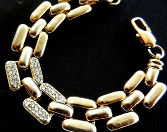 Deco-inspired 1970s  glossy gold and clear rhinestones  bracelet - Deco chain bracelet Italian Couture -- Art.770/2-