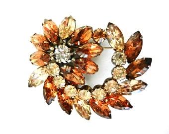 Gorgeous 1950 Juliana brooch Crystal Marquise-2 tones of amber -Brooch feminine and Juliana original ---Art.45/3 -