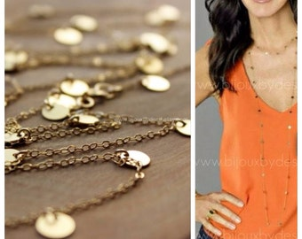 Courtney Cox Cougar Town - Tiny Discs Long Gold Necklace - CHOOSE your Length