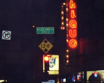 Chicago Photography, Chicago Art, Lincoln Square, mid-century vintage neon sign photo, liquor, night photography, old signs, city, Bukowski