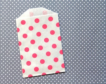 SALE: Pink Polka Dot Party Favor Bags, Goody Bags, Mini Pink Bags (20) 2.75 x 4""