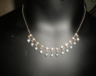 Vintage Silver and Rhinstone Pearl Necklace Set