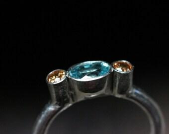 Engagement Ring Blue Zircon Orange Spessartite Silver Modern Sculptural Design Simple 3 Gemstone Bridal Band Cool Warm Colors - Ancient Glow