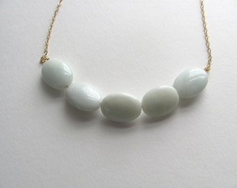 Aqua blue amazonite stone necklace on delicate 14k gold plated chain, gemstone