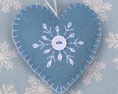 Felt Christmas Ornament, Handmade Scandinavian Heart ornament, Snowflake ornament, Blue felt heart ornament, Handmade felt heart ornament.