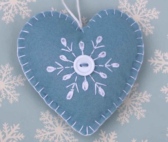 Felt christmas ornament handmade scandinavian heart