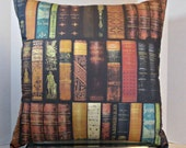 Pillow LIBRARY BOOKS VINTAGE 18 Inches, A Classic Book Pillow, Book Classics, Literary Decor, Bookworm Bookworms Unique and Interesting