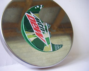 Crescent Moon Magnet, Mountain Dew Magnet, Can Art