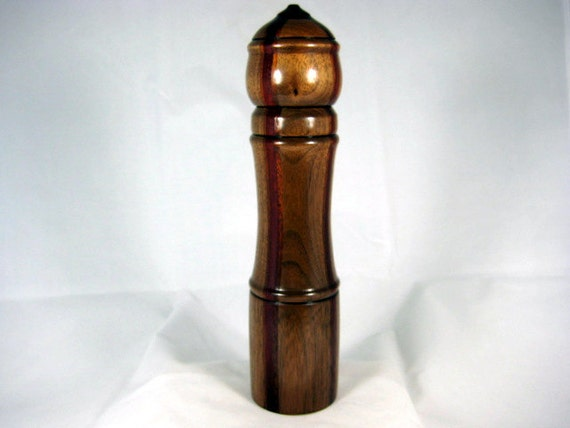 Pepper Mill Salt Mill Spice Grinder Black Walnut Wood with four laminated Red Strips Crushgrind