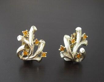 Rhinestone Coral Branch Earrings, Rhinestone Earrings, Gold Earrings, Fall Earrings, Citrine Rhinestone Earrings
