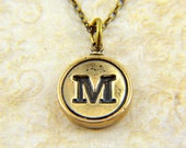 Letter M -  Typewriter Key Pendant Necklace Charm