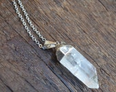 White Crystal Necklace - Crystal Quartz Necklace Silver - Long Simple Necklace