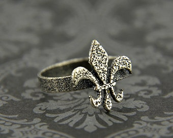 Two for One Sale....Silver Fleur De Lis Ring Solid White Bronze with Sterling Silver Overlay