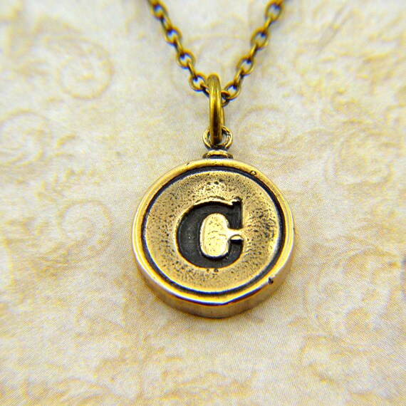 Letter C Necklace - Bronze Initial Typewriter Key Charm Necklace - Gwen Delicious Jewelry Design