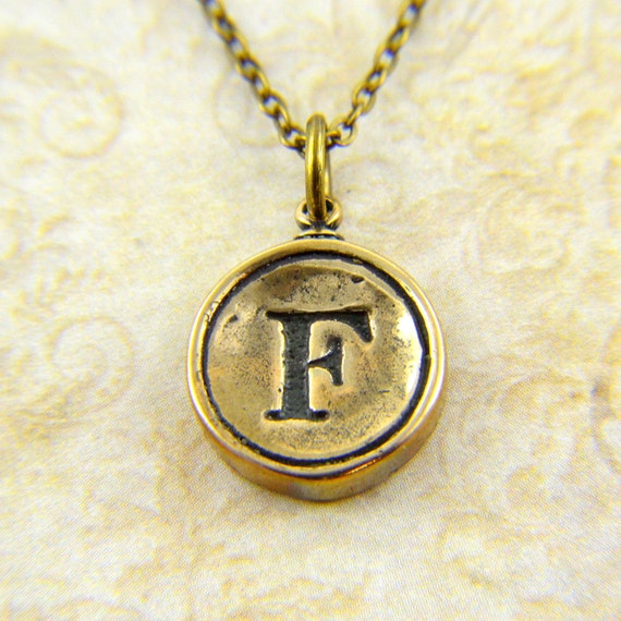 Letter F Necklace - Bronze Initial Typewriter Key Charm Necklace - Gwen Delicious Jewelry Design GDJ