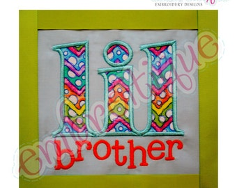 Lil Brother Applique- Instant Download -Digital Machine Embroidery Design