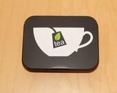 Tea Bag holder - new item - black metal tin with Tea Cup design