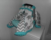 Grey Elephant Chevron and Aqua Blue Ruffles Zippered Infant Car Seat Cover TENT ONLY - Other Colors Available Hot Pink, Lime Green, Red