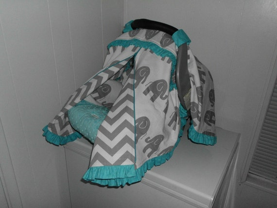 Grey Elephant Chevron And Aqua Blue Ruffles Zippered Infant