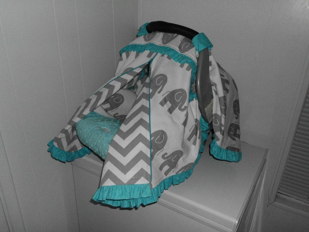 Grey Elephant Chevron And Aqua Blue Ruffles Zippered Infant