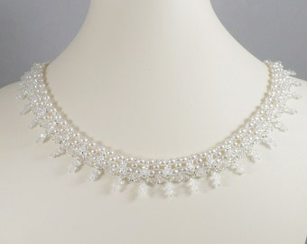 Woven Necklace White Pearl and Swarovski Crystal