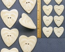 "32mm 1 1/4"" Hand Carved Water BUFFALO BONE HEART Flower Sewing Buttons 8pc"